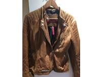Superdry tan colour leather jacket