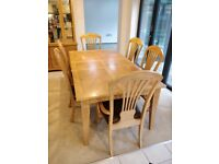 Solid Wood Extending Dining Table & 6 Chairs