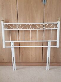 metal headboard in white and gold for standard single bed