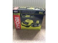 RYOBI 5AMP BATTERY AND CHARGER! BRAND NEW IN BOX.