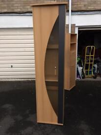 Wood pine bookcase shelving display cabinet cupboard storage