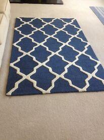 Living Room Rug - Blue and Cream, Modern design - New