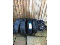 4 X Road tyres + 4 mini rims + 4 new Matt black wheel covers SIZE 175 / 65 R15