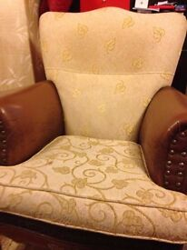 Istikbal Armchair - cream and brown
