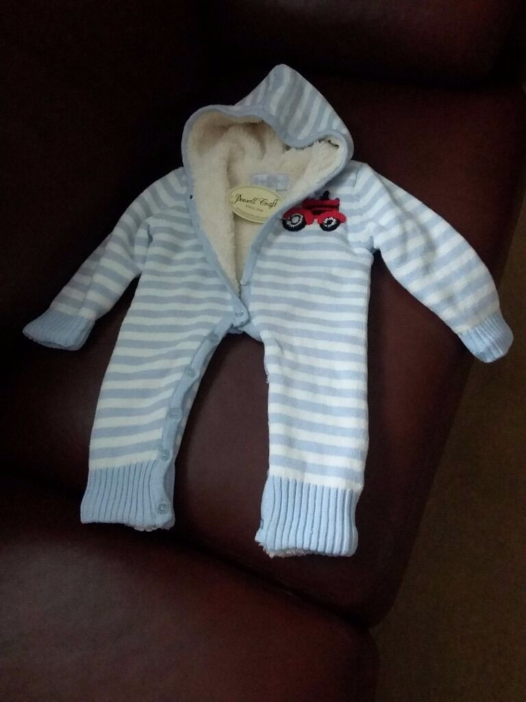 Snowsuit 0 6mthsin Gilmerton, EdinburghGumtree - Powell Craft knitted snowsuit in blue and white stripe with warm lining 0 6mths never worn still with label