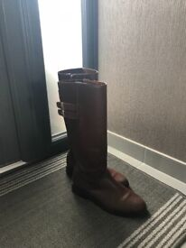 Zara girls fashion tall Brown real leather shoes boots size 3.5 UK 36EU