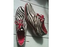 SPERRY TOP SIDER Zebra Print Leather Pony Hair Boat Shoes size 6