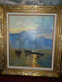 Bryce Gillispie oil on canvas of boats in harbour in carved gilt frame.