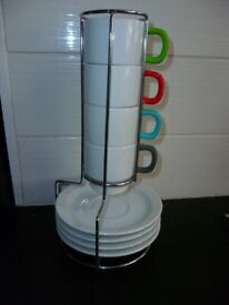 Stacking Espresso Cup & Saucer Set