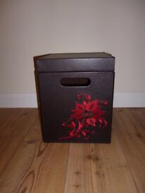 red and brown storage box