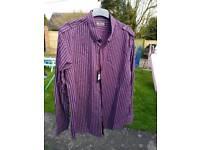 Men's XXL purple and white stoped shirt