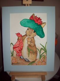 BEATRIX POTTER STYLE ORIGINAL WATERCOLOUR PAINTINGS 8 CHARACTERS AVAILABLE A3 SIZE £45 EACH