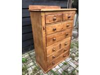 Victorian pine chest upon chest