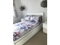Double bed Ikea Malm white with 2 storage drawers