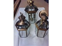 3 lanterns in polished brass