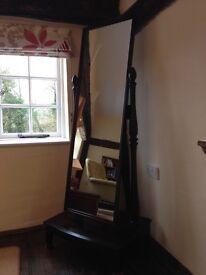 Stag 'Mistral' Cheval (freestanding) mirror in dark mahogany