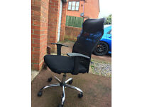 Black fabric, soft mesh & leather top executive office swivel chair