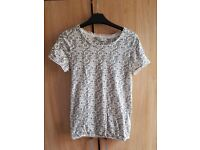 Next white black flower t shirt top 8 s small work casual ladies