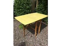 Formica gate leg kitchen dining table Vintage 1966 yellow