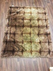 Ash Brown Faux Fur Throw