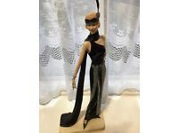 """beautiful Art Deco 1920s Lady Figurine 15"""" tall in black and silver"""