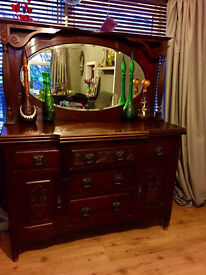 Art Nouveau Sideboard Dresser with Ornate Mirror