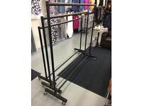 Heavy Duty Garment Rails with heavy duty wheels