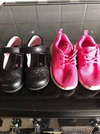 Toddler size 7 black shoes and pink trainers