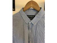 3 x Casual Topman Mens Shirts - Medium Slim Fit - Long /Short Sleeve - White Oxford Teal Blue Print