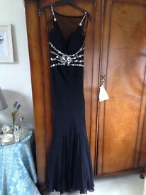 Long black evening / embellished prom dress