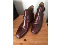 REDUCED...RUSSELL & BROMLEY BROWN LEATHER ANKLE BOOTS