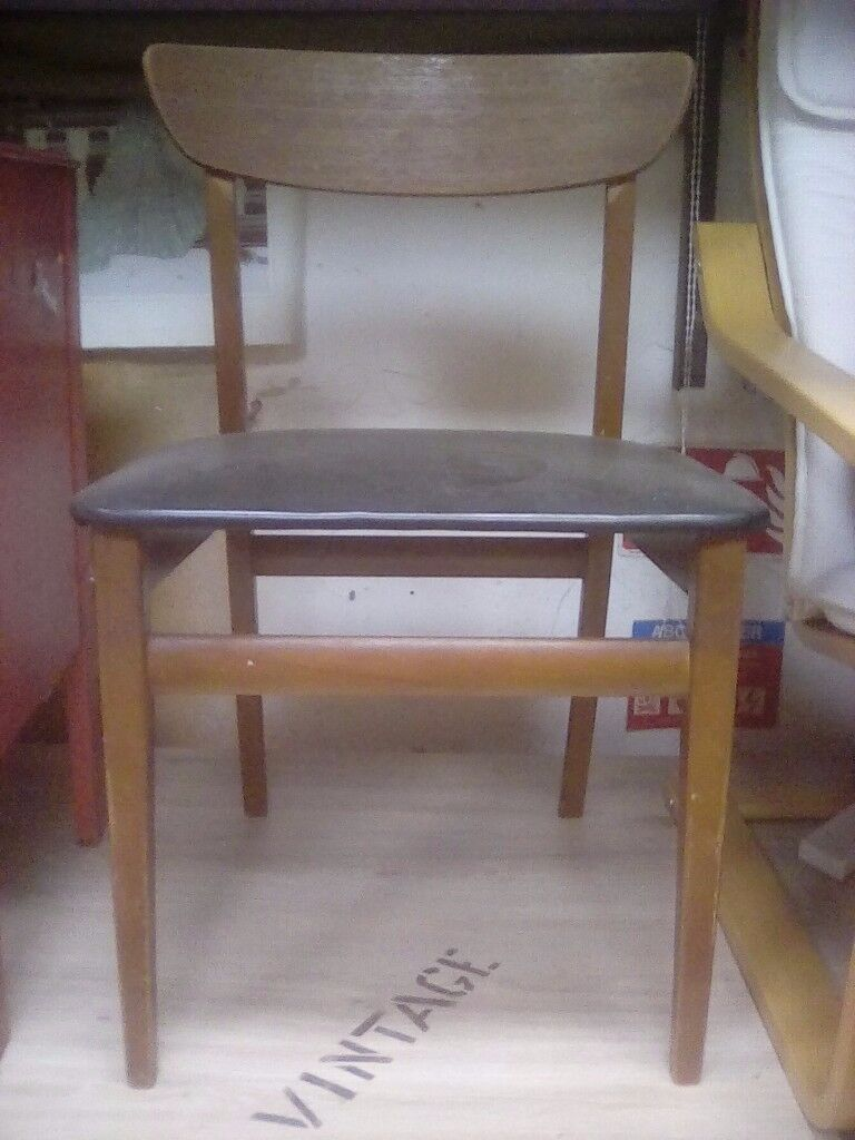 Awesome Four Vintage Wood Black Vinyl Dining Chairs In Gloucester Gloucestershire Gumtree Gmtry Best Dining Table And Chair Ideas Images Gmtryco