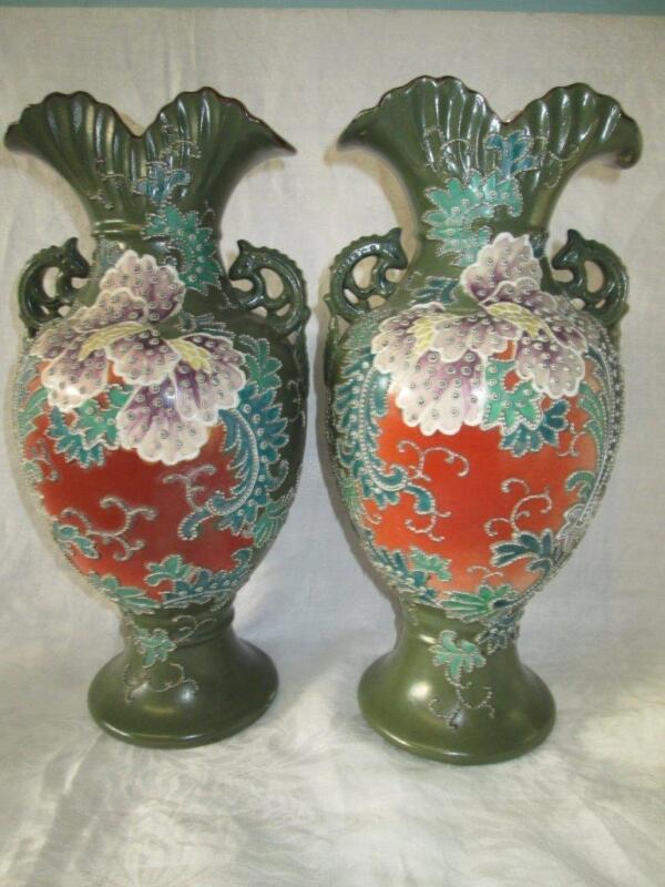 Vintage Pair of Japanese Nippon Raised Moriage Vases Lizard Handles