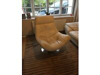 Cream leather swivel chair, Crome base.