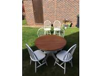 Solid Pine round farmhouse table & 6 chairs
