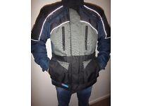 Frank Thomas motorbike jacket, blue and black , size large, elbow, back and shoulder pads
