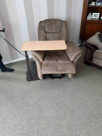 Electric reclining chair and adjustable table
