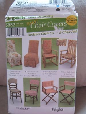 Simplicity 5952 Home Decorating Easy Chair Covers Skirt Back Pad Director UNCUT - Padded Director Chair Cover