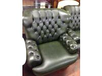 Beautiful Chesterfield High Back Three Seat Sofa & Chair - Good Condition