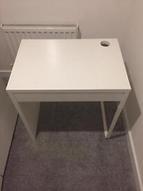 White Ikea desk with drawer