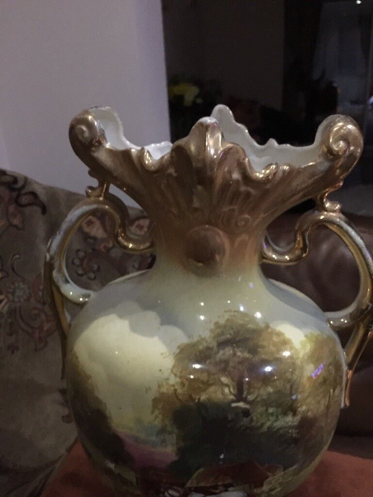 ANTIQUE LARGE VASE - VERY OLD - COUNTRY SCENES - 17 inchs HIGH