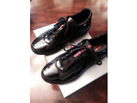 Prada Black Patent Leather America Cup Mesh Trainers. Size 8
