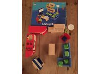 Pintoy and ELC wooden dolls house furniture