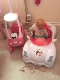 Baby born doll, interactive pull along car & coupe
