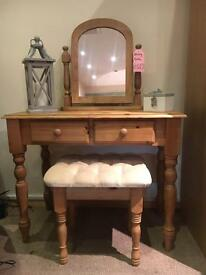Solid Pine Dressing Table & Stool - CAN DELIVER