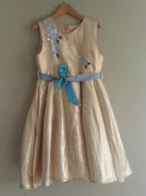 Monsoon gold party dress Age 11-12. Worn once