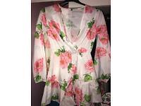 Silk floral romper
