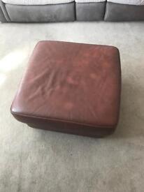 Real leather storage footstool