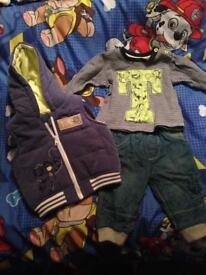 Tigger Disney Winnie pooh 3 piece set body warmer gilet jeans and t shirt 3-6 months