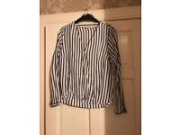 Ladies black & white striped shirt
